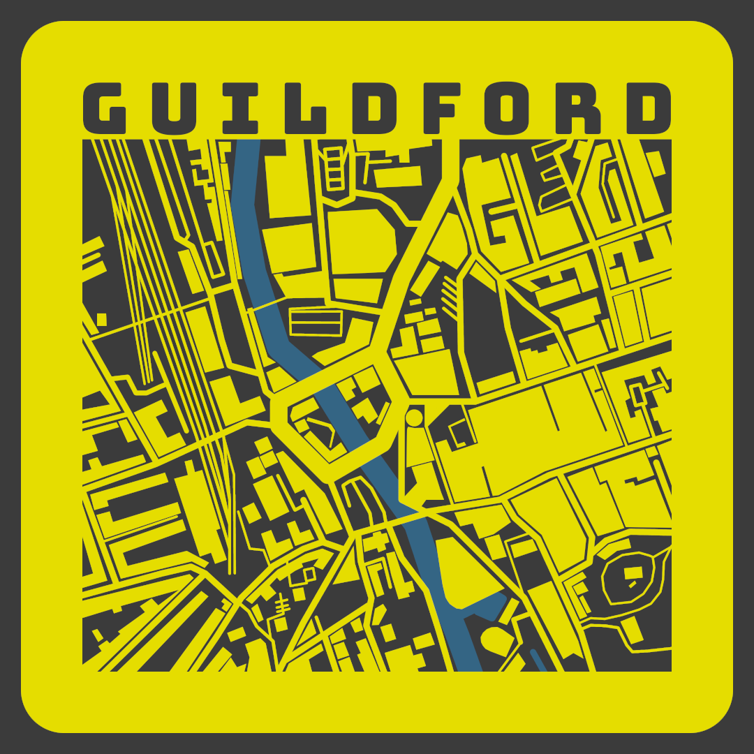 Guildford Map in Yellow