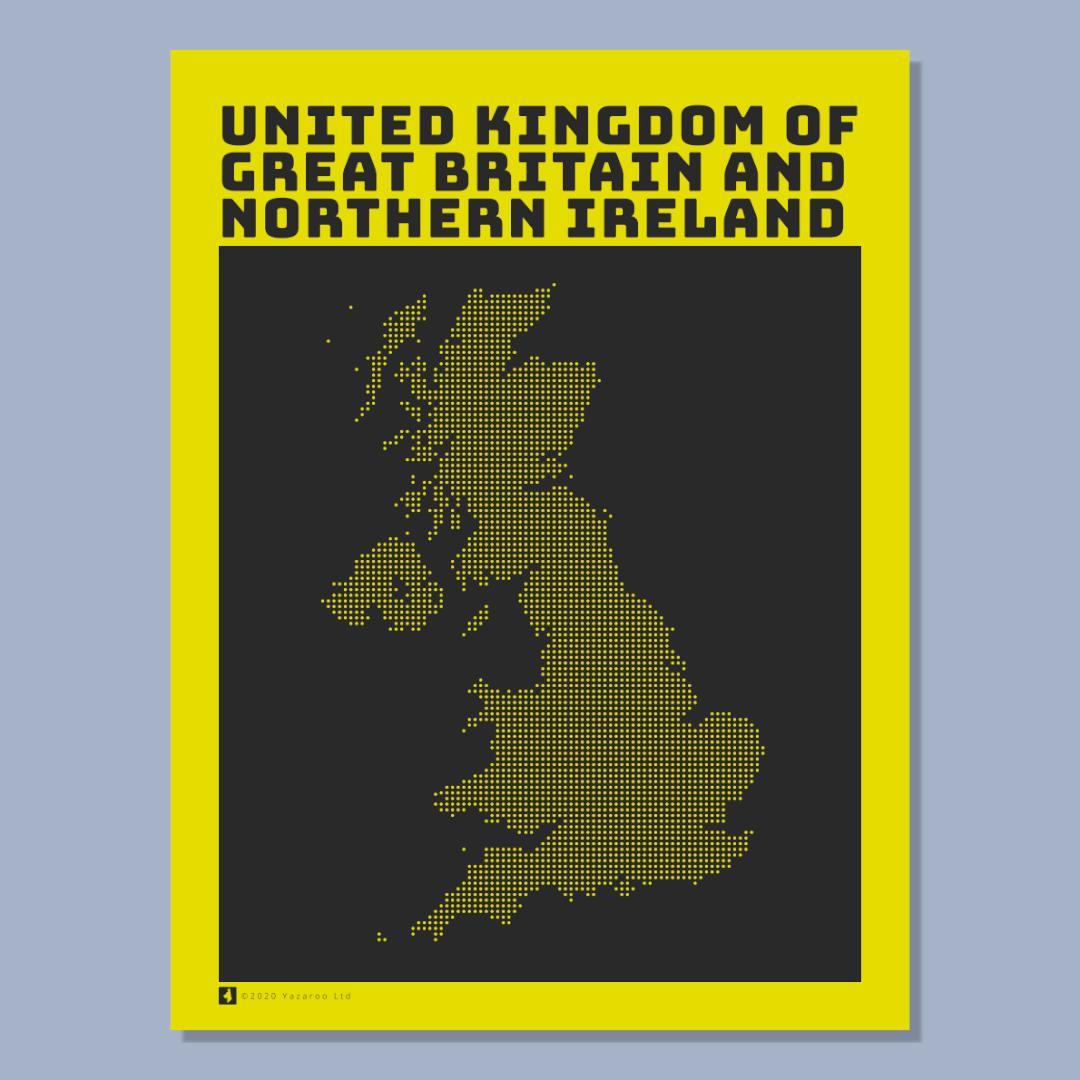 UK Map Poster Yellow